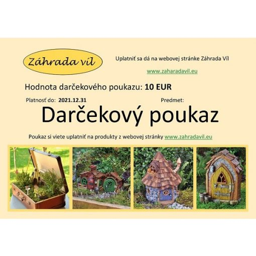 Ajándékutalvány szlovák nyelvű